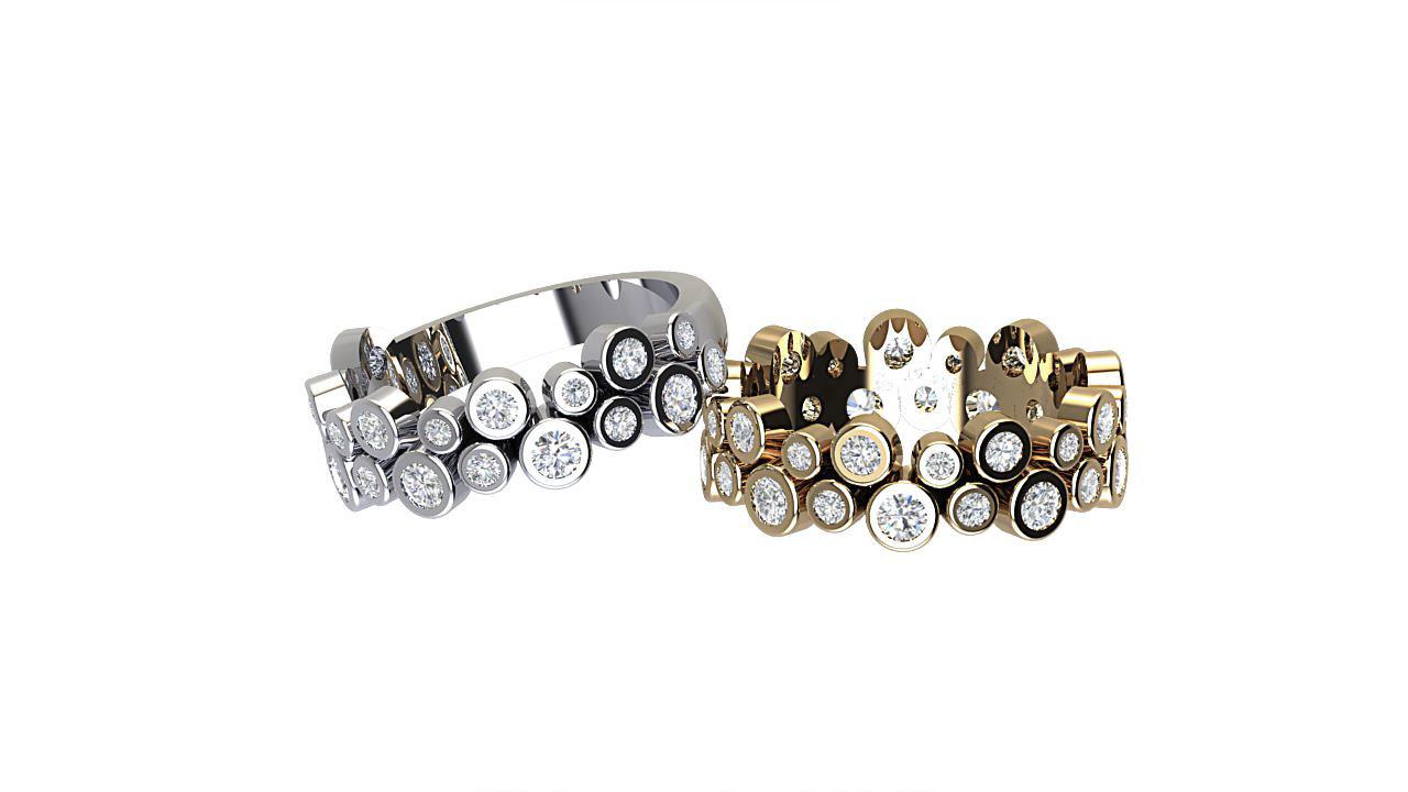 By Oscar designer round diamond eternity ring in platinum & 18 carat yellow gold