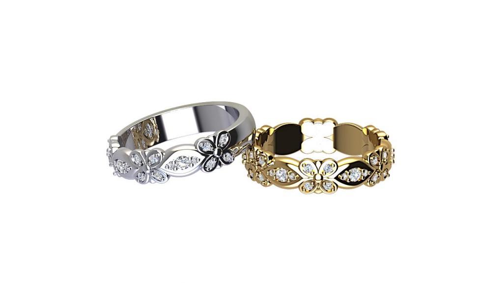 DWSR006 Art Deco Diamond Wedding Rings