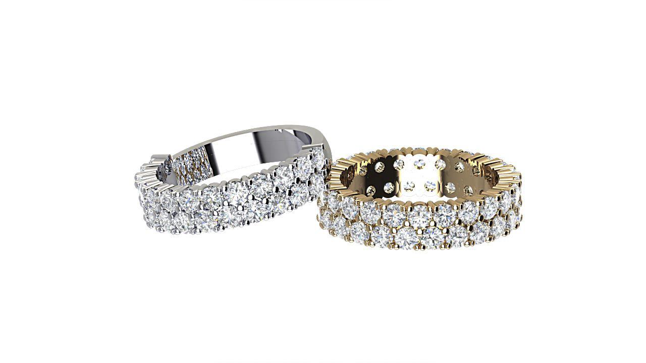 By Oscar double row designer  diamond eternity rings in 18 carat yellow gold & palladium