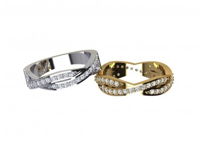 DWSR003 Twist Diamond Set Wedding Ring