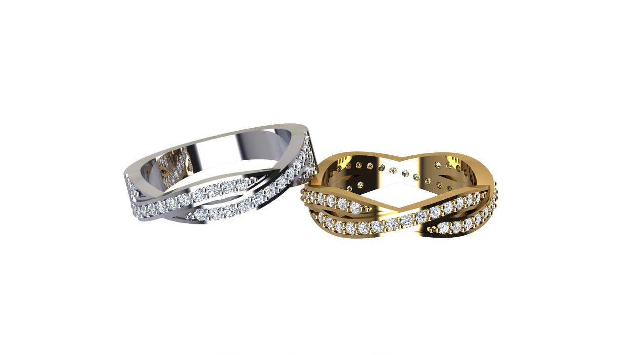 By Oscar for  eternity crossover round diamond wedding bands in 18 carat white gold and yellow gold