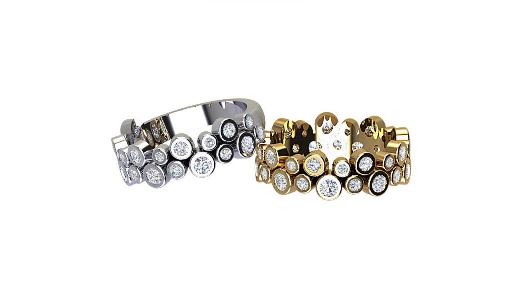 DWSR002 Double Row Bezel Set Diamond ET/Wedding Ring