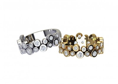 DWSR002 Double Row Bezel Set Diamond ET/Wedding Ring