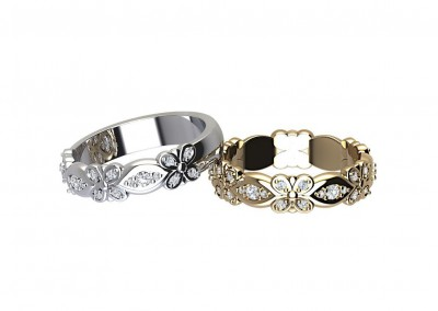 ETR012 Art Deco Floral Diamond Eternity Ring