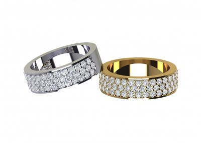 DWSR001 Triple Row Diamond ET/Wedding Ring