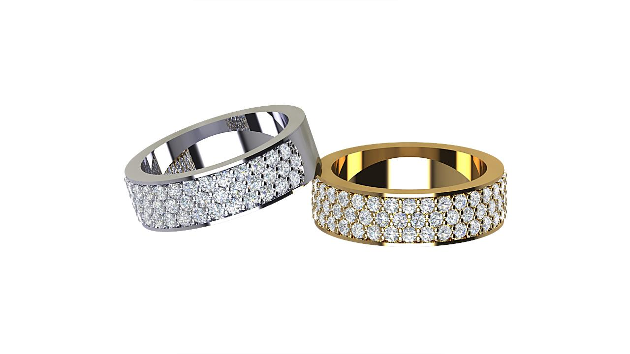 By Oscar triple row round diamond wedding bands in 18 carat yellow gold & platinum