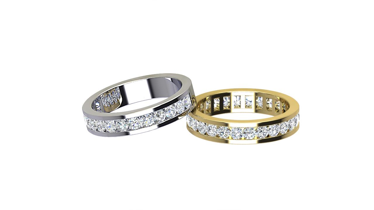 Channel Set round diamond wedding bands in Palladium & 18 carat yellow gold