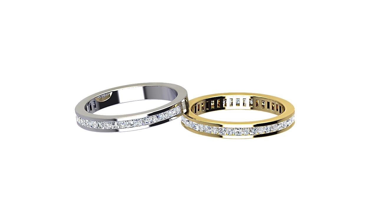 Channel set half & full round  diamond wedding bands in platinum & 18 carat yellow gold
