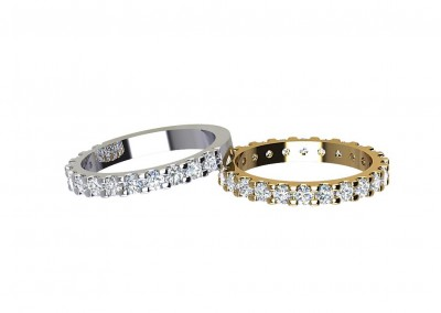 DWR004 Scalloped Set Diamond Wedding Ring