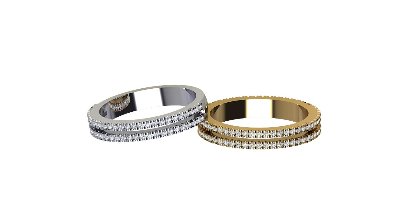 Double row half and full set round diamond wedding bands in 18 carat yellow gold & Platinum