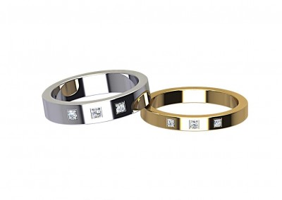 DWR008 Triple Princess Cut Diamond Wedding Ring