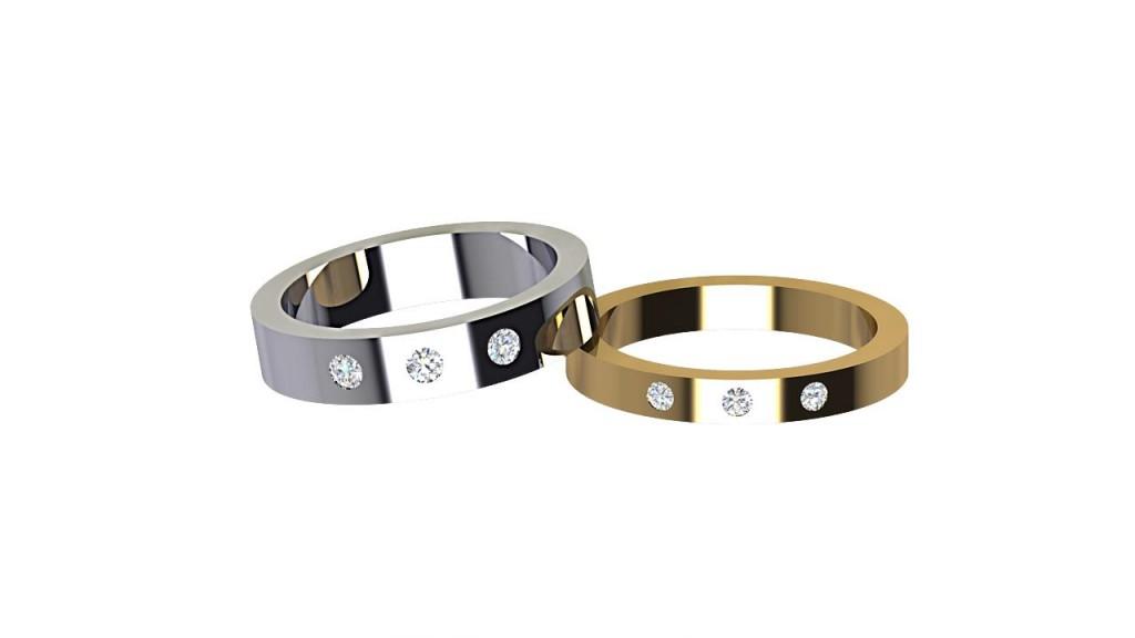 DWR009 Triple Round Cut Diamond Wedding Ring