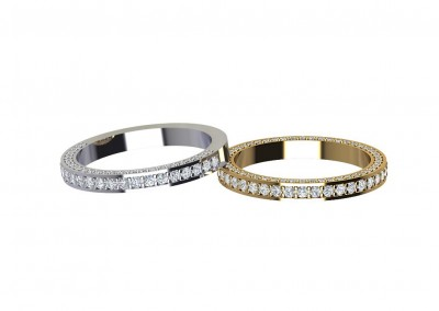 Bevelled Side Set Diamond Wedding Ring DWR010
