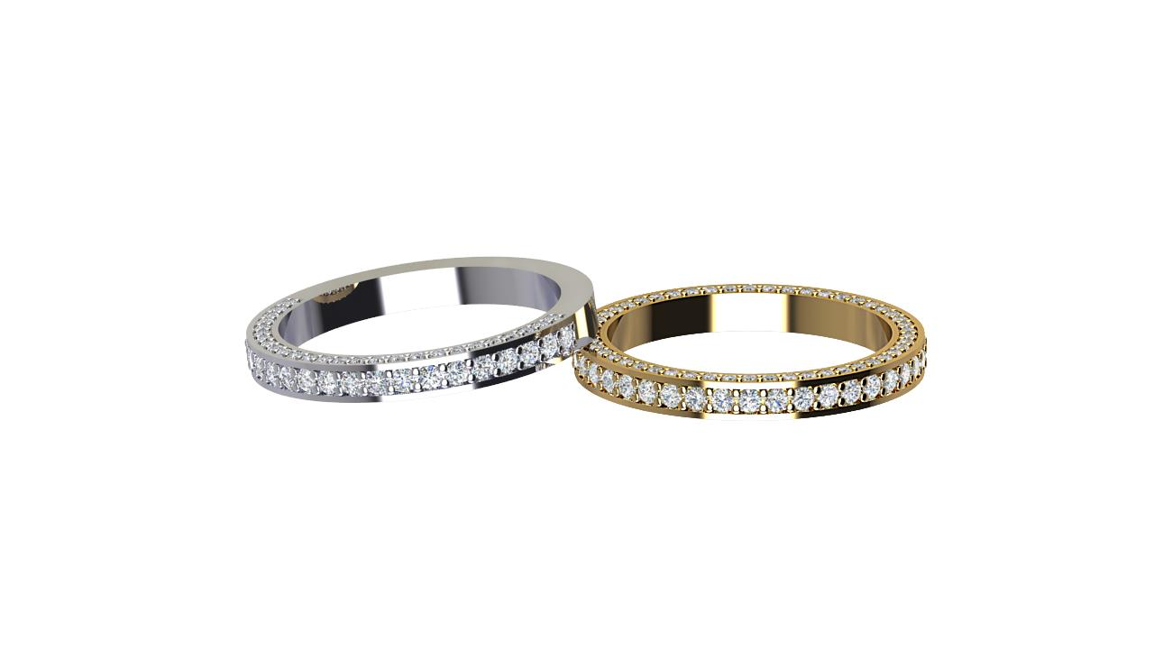 Front facing & side set round diamond wedding bands in platinum and 18 carat yellow gold
