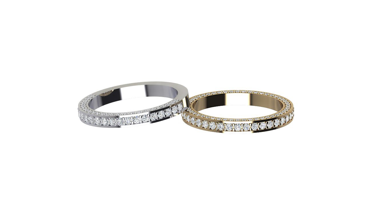 Front & side facing round diamond eternity rings in platinum & 18 carat yellow gold