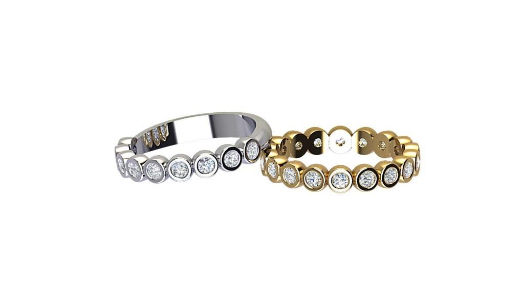 DWR012 Bezel Set Art Deco Diamond Wedding Ring