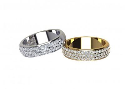 DWR013 Triple Row Diamond Wedding Ring