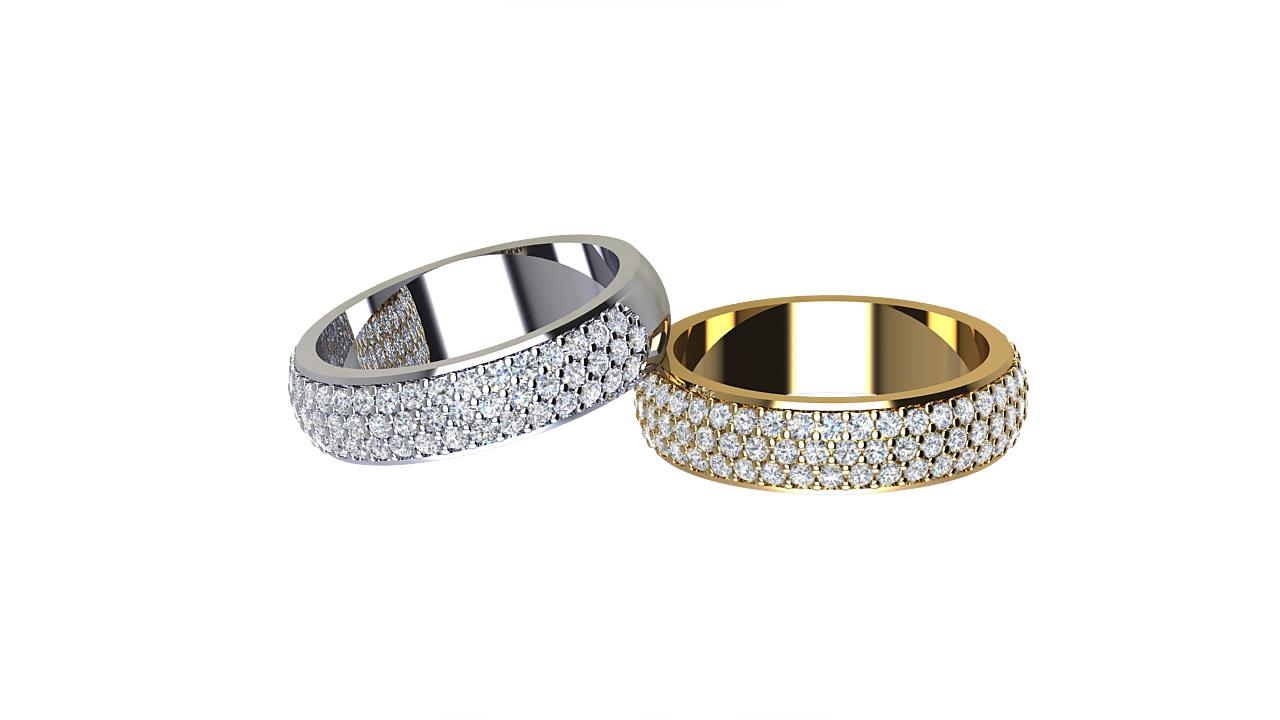 Low dome round diamond wedding bands in 18 carat yellow gold & platinum