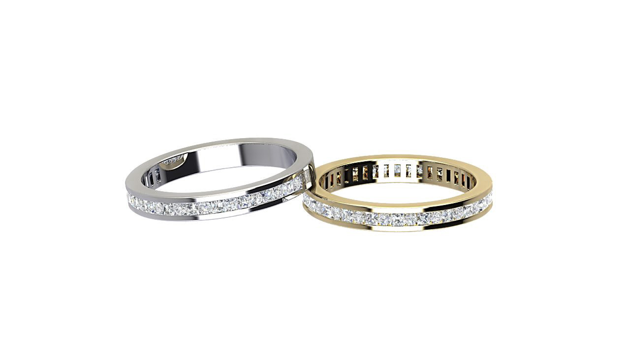 Princess cut and round cut diamond half & full eternity ring in 18 carat yellow and white gold