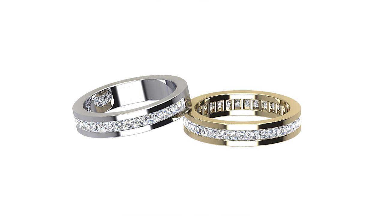 Princess cut full  & half eternity diamond  ring in 18 carat yellow gold & platinum