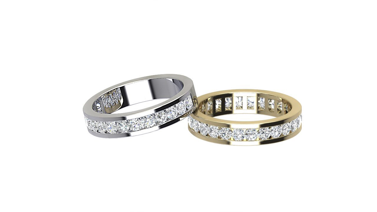 Round diamond full & half eternity ring in platinum & 18 carat yellow gold