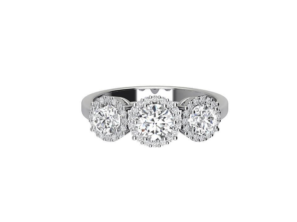 Trilogy 1.8 carat round brilliant diamond engagement ring in platinum  #1