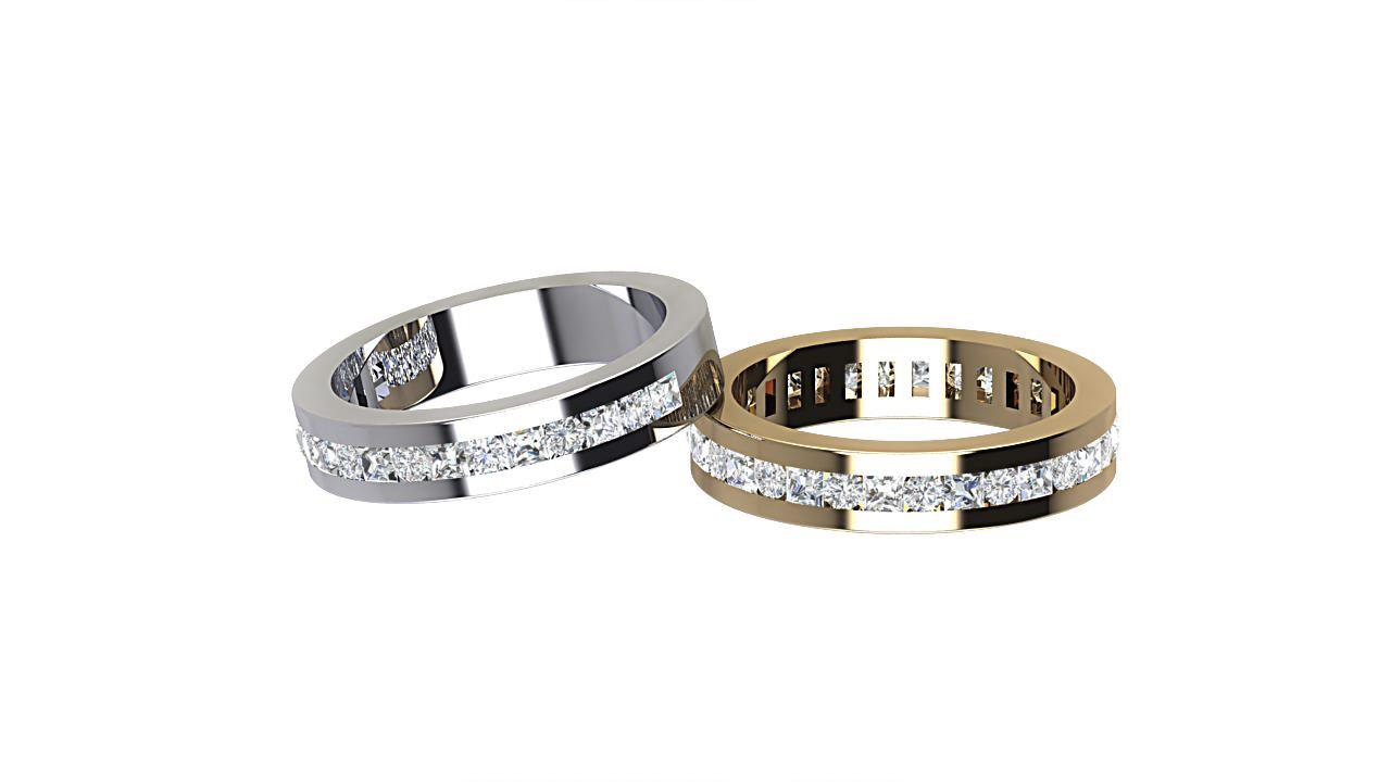 round cut & princess cut full & half diamond eterniry ring in 18 carat yellow gold & platinum