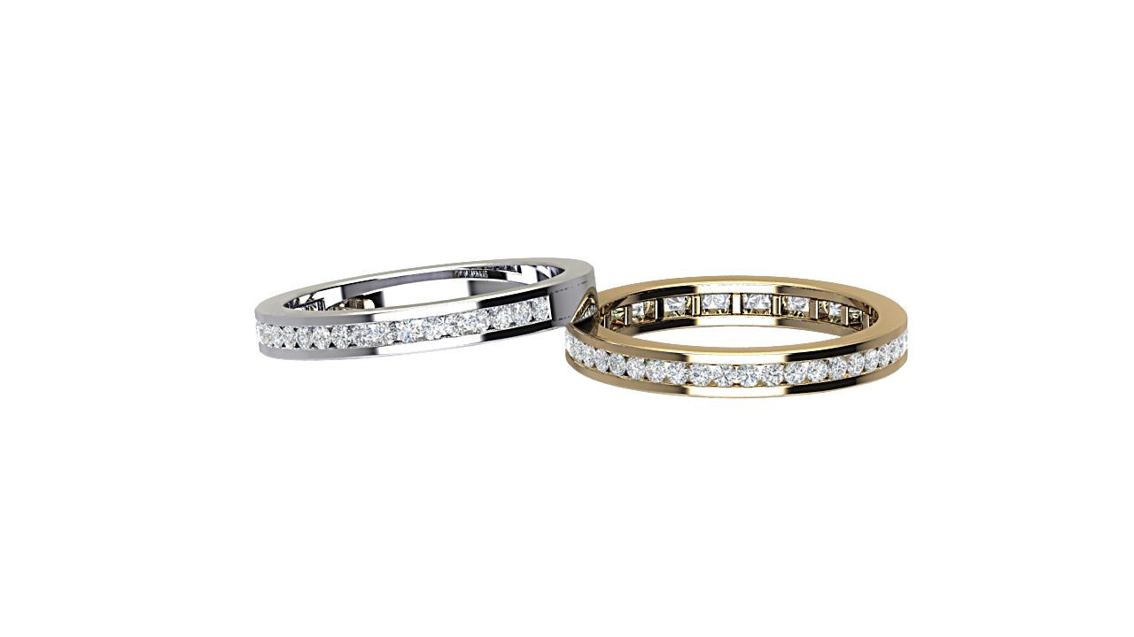 round diamond full diamond & half diamond eternity ring in platinum & 18 carat yellow gold