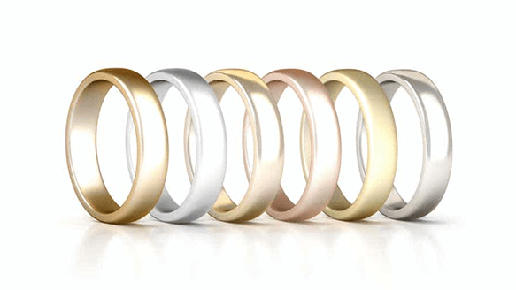 different colour wedding rings